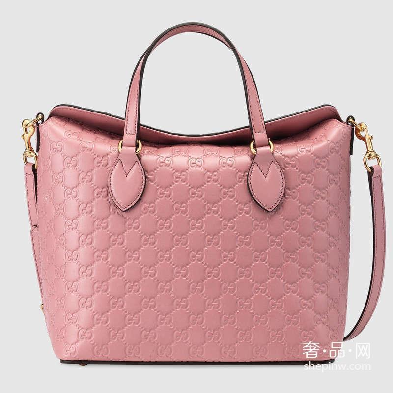 bb4cbf932f6c Gucci Signature 皮革手提包428226 CWC1G 5812 糖果粉 ...