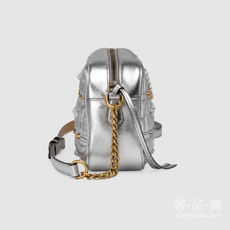 Gucci GG Marmont绗缝珍珠铆钉肩背包447632 DMKJT 8179 小号