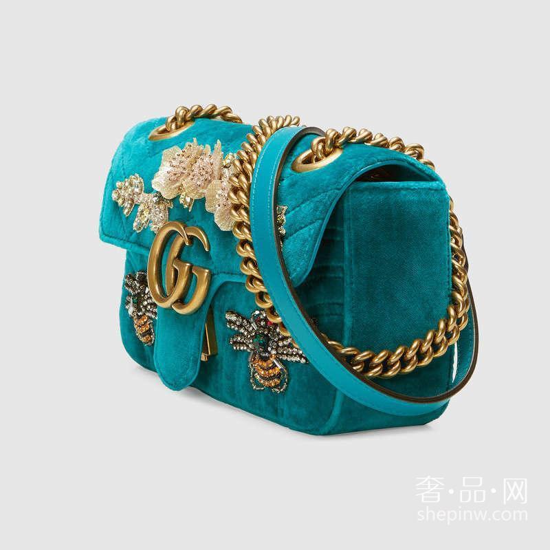 Gucci GG Marmont水晶蜜蜂贴花刺绣天鹅绒迷你手袋446744 K4DOT 4470