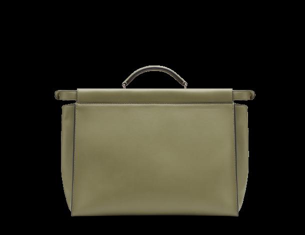 芬迪Fendi PEEKABOO手袋 草绿色皮革手提包 公事包