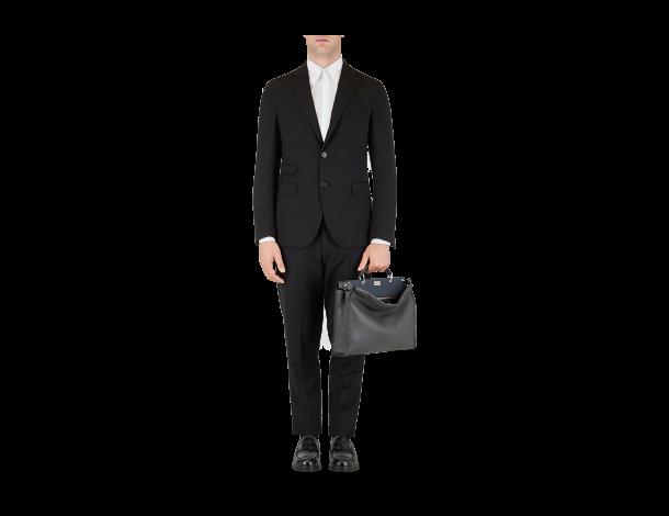 芬迪Fendi PEEKABOO FIT手袋 沥青灰色罗马皮革手提包手工缝线