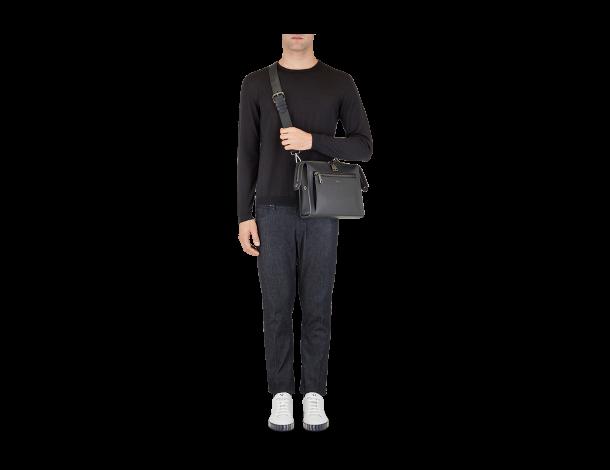 芬迪 Fendi LUI男士手袋 光滑黑色皮革手提包 7VA407_O7B_F0KCV