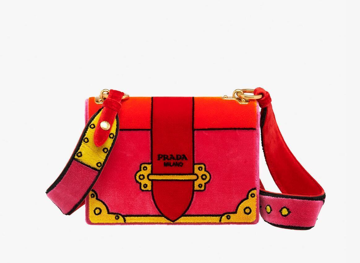 普拉达prada velvet 樱红色手袋 1BD075_2BLF_F0029_V_KOO