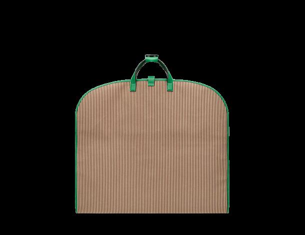 芬迪Fendi 棉质服装袋 双色条纹图 案服装袋翠绿色皮革边缘