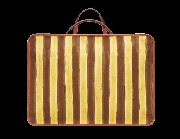 芬迪Fendi 长方形双色马克笔风格条纹图案 男士旅行袋 花朵和云彩造型