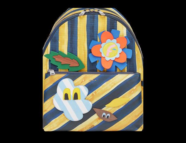 芬迪Fendi  印花棉质帆布背包 黄蓝马克笔风格条纹图案