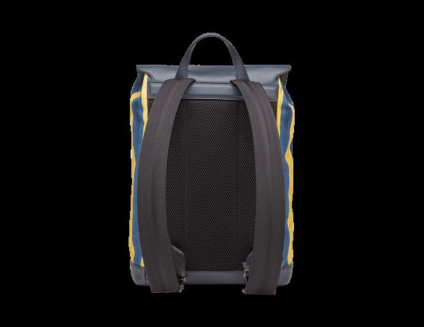 芬迪Fendi 黄蓝双色手绘风格条纹棉质帆布男士背包