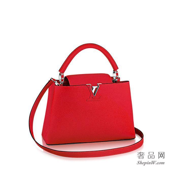 路易威登 粒面Taurillon皮革 CAPUCINES 小号手袋 M42237 宝石红