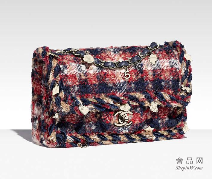 香奈儿CHANEL 红色 海军蓝与米色斜纹软呢口盖包A69900