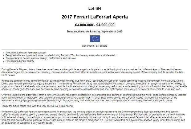 法拉利今年9月9日举办70周年庆 首次公开亮相将生产最后一台Laferrari Aperta车型