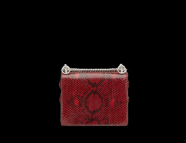 芬迪Fendi红色蟒蛇皮KAN I 手袋MINI扇形边缘饰珠宝贴花