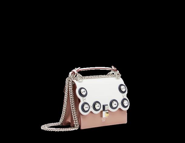 芬迪Fendi白色和粉红色皮革 KAN I 手袋MINI