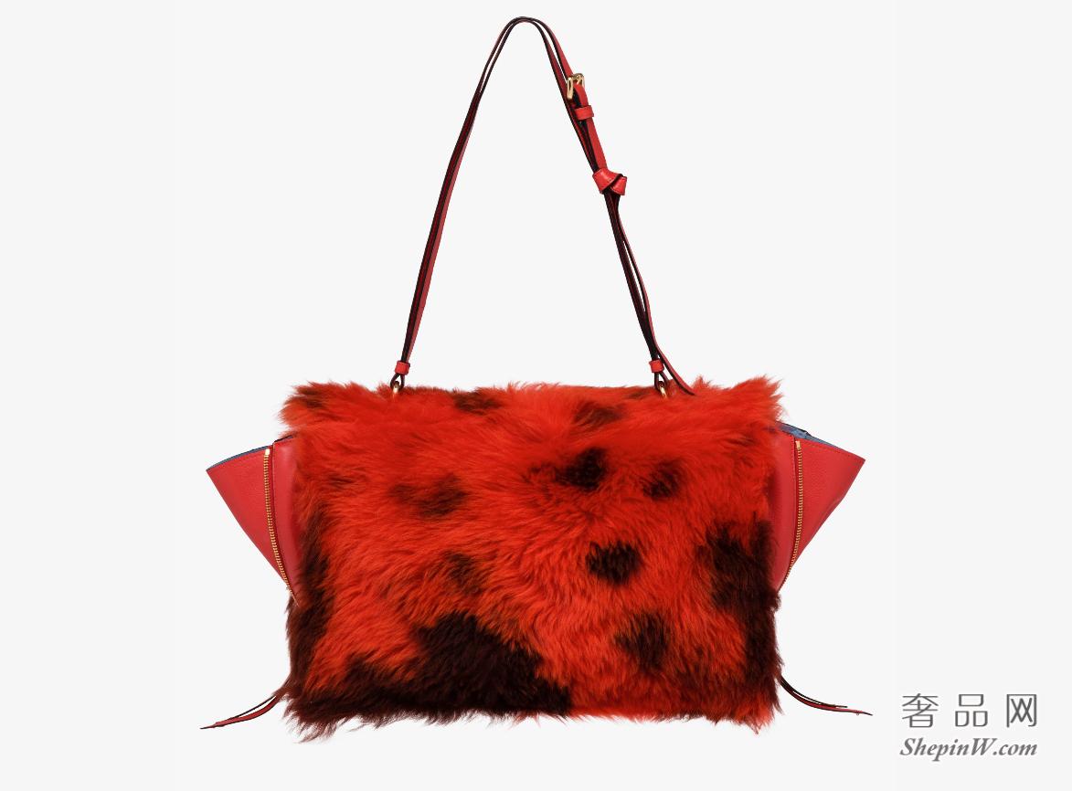 Prada Etiquette LACQUER RED / CAMEL初剪羊毛拼小牛皮单肩包手袋