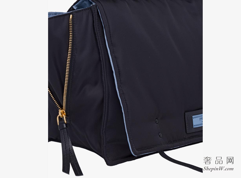 Prada Etiquette手袋 黑色 + 孔雀蓝织物单肩包