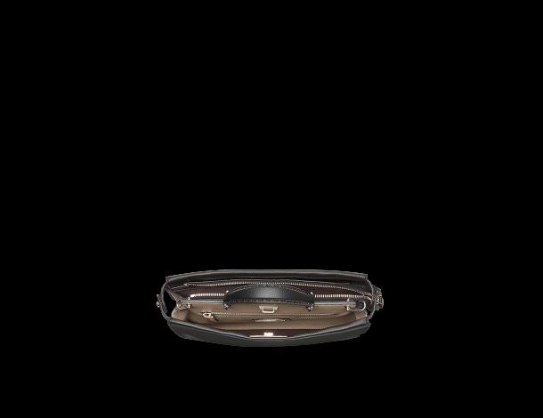 芬迪Fendi 黑色罗马皮 纤薄手提包 PEEKABOO FIT 饰银色Selleria徽章