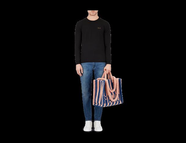 芬迪Fendi钴蓝色和粉红色条纹双色羊皮大型手提袋 TOTE手袋