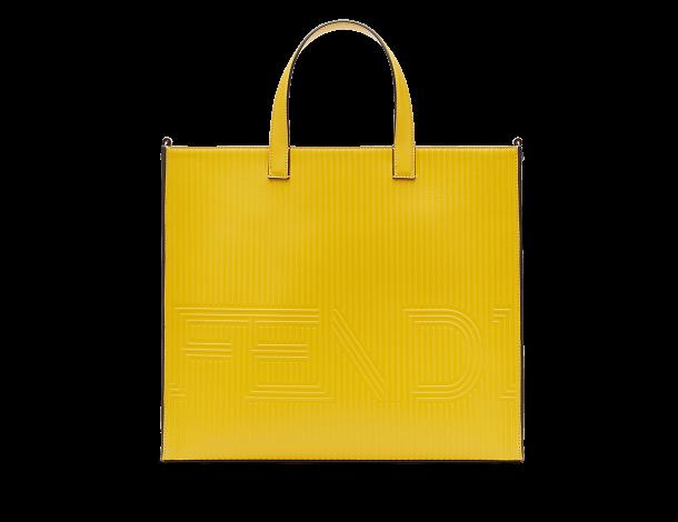 芬迪Fendi奶黄色小牛皮四方袋形大型手提袋 TOTE手袋