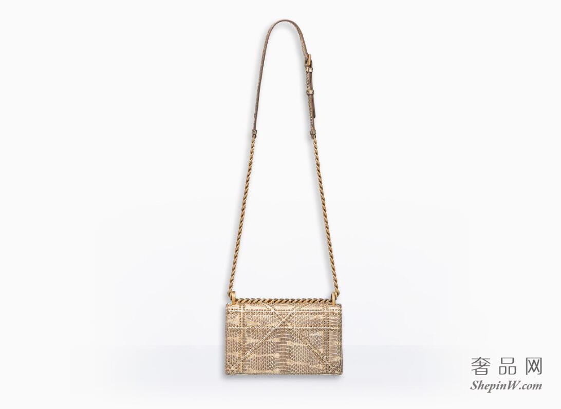 diorama金色金属光泽猫蛇皮翻盖式小手提包,缀以饰钉  archicannage