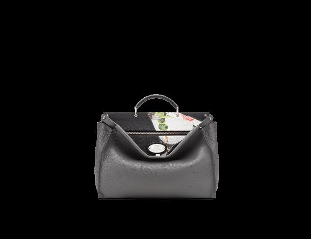 芬迪Fendi 手提包 黑色罗马皮PEEKABOO 镶饰Everyday Fendi Cocktail图案