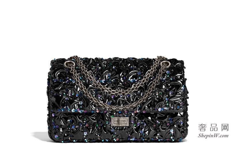 chanel 2.55 Classic handbag 刺绣小羊漆皮口盖包