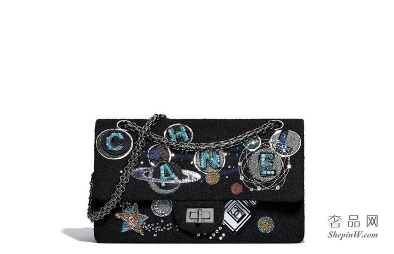 chanel 2.55口盖包 Classic handbag,斜纹软呢 星际款