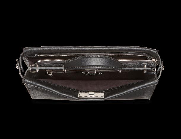 芬迪Fendi 纤薄手提包PEEKABOO FIT 黑色罗马皮镶同色Bag Bugs眼睛图案