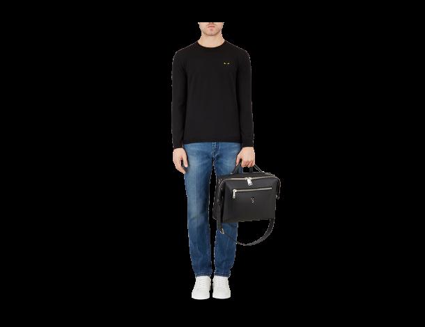 芬迪Fendi 男士信使包 黑色小牛皮长方形肩背包 饰Bag Bugs眼睛图案