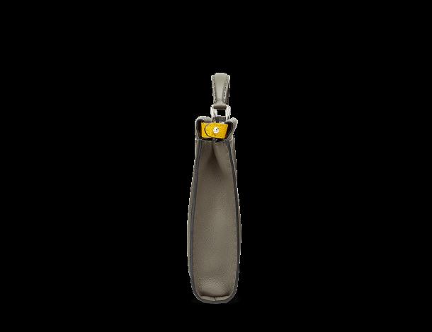 芬迪Fendi PEEKABOO FIT 碳灰色及向日葵黄色罗马皮革柔软手提包