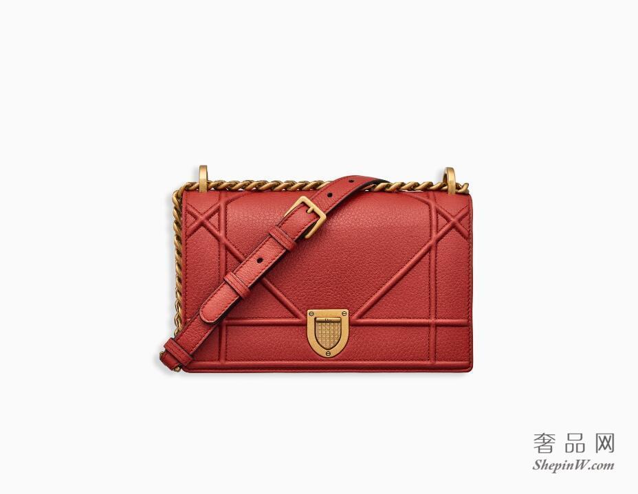 """迪奥dior""""Diorama""""红色Archicannage藤格纹图案粒面触感小牛皮小手提包"""