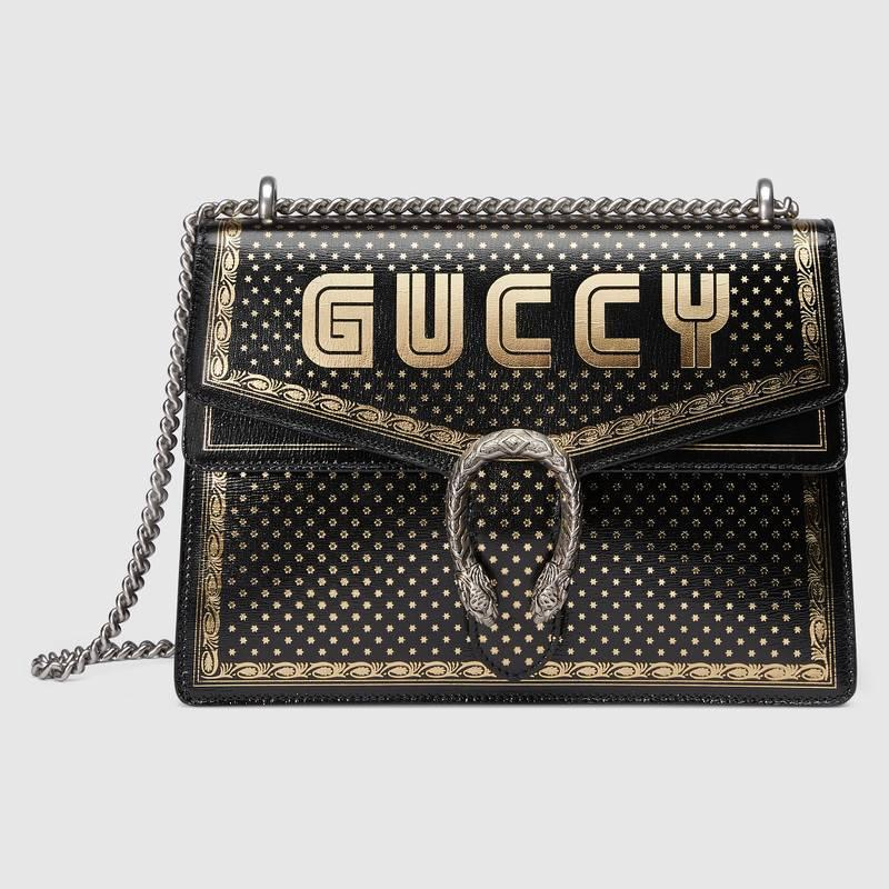 Gucci古驰 黑色Dionysus系列Guccy印花中号肩背包400235 0KLAN 1055