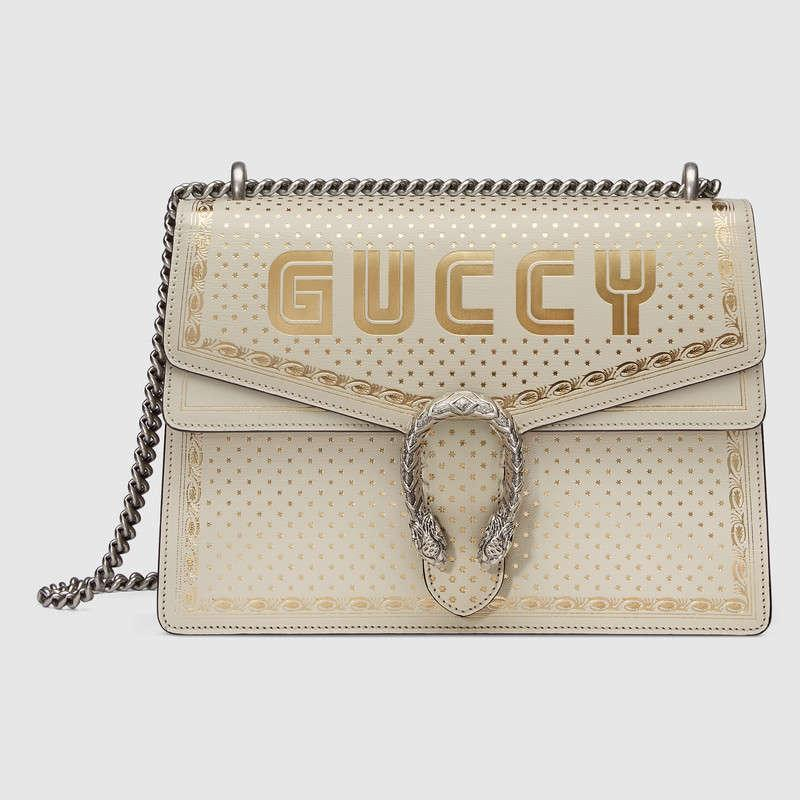 Gucci古驰 Dionysus系列Guccy印花中号肩背包400235 0KLAN 8711