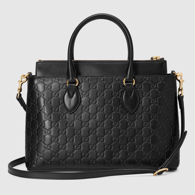 Gucci古驰 黑色Signature柔软皮革手提购物袋 409534 0DM1G 1000