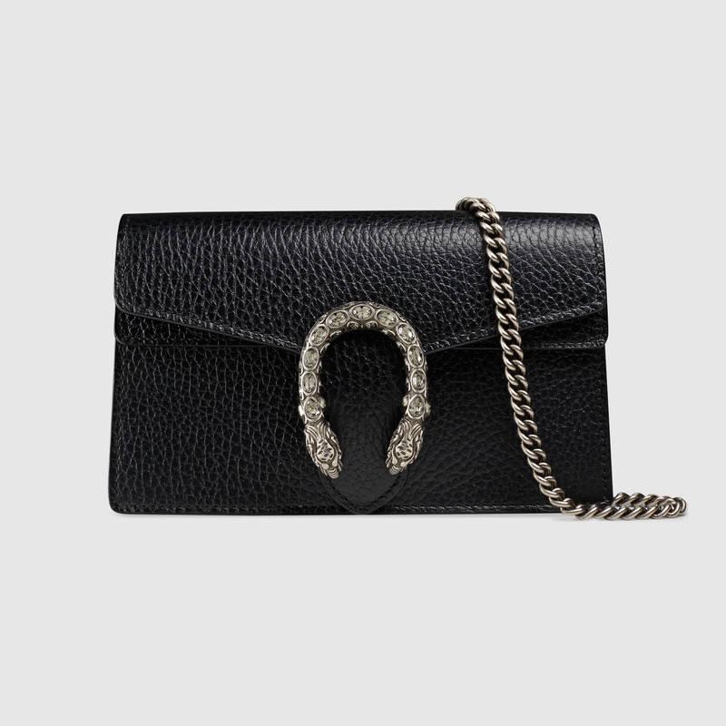 Gucci古驰 476432 CAOGN 8176 Dionysus黑色皮革超迷你手袋