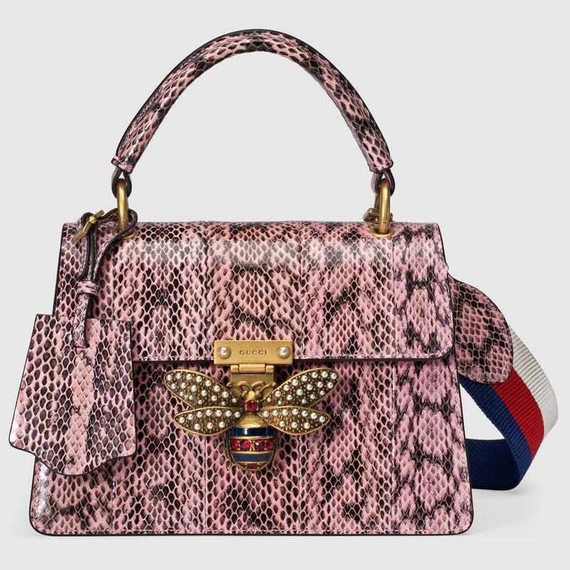 b2244d86bfc3 皮革衬里意大利创作 Gucci古驰粉色蛇皮Queen Margaret蛇皮手提包476541 LOOMT 8008 ...