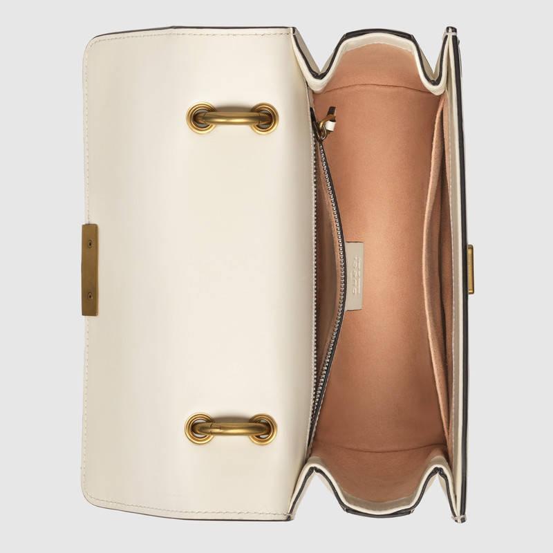 Gucci古驰 Queen Margaret 白色皮革小号肩背包476542 DVUXT 9193