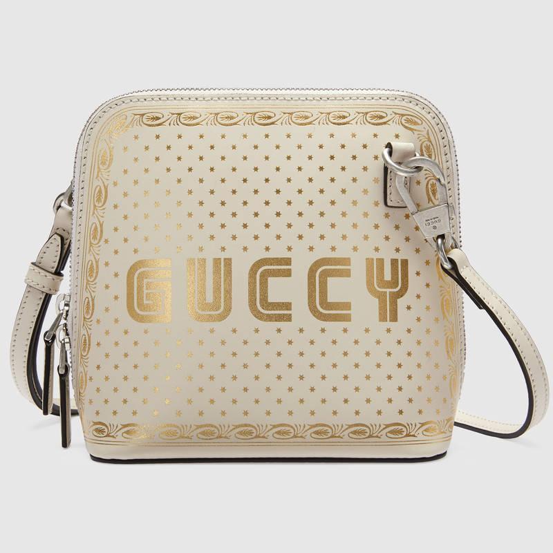 Gucci古驰 白色皮革Guccy印花迷你肩背包511189 0GUYN 8711