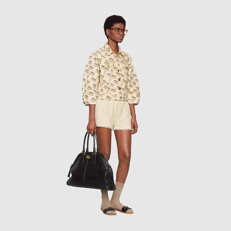 Gucci古驰 RE(BELLE)大号手提购物袋515937 0PL0T 1000 黑色皮革