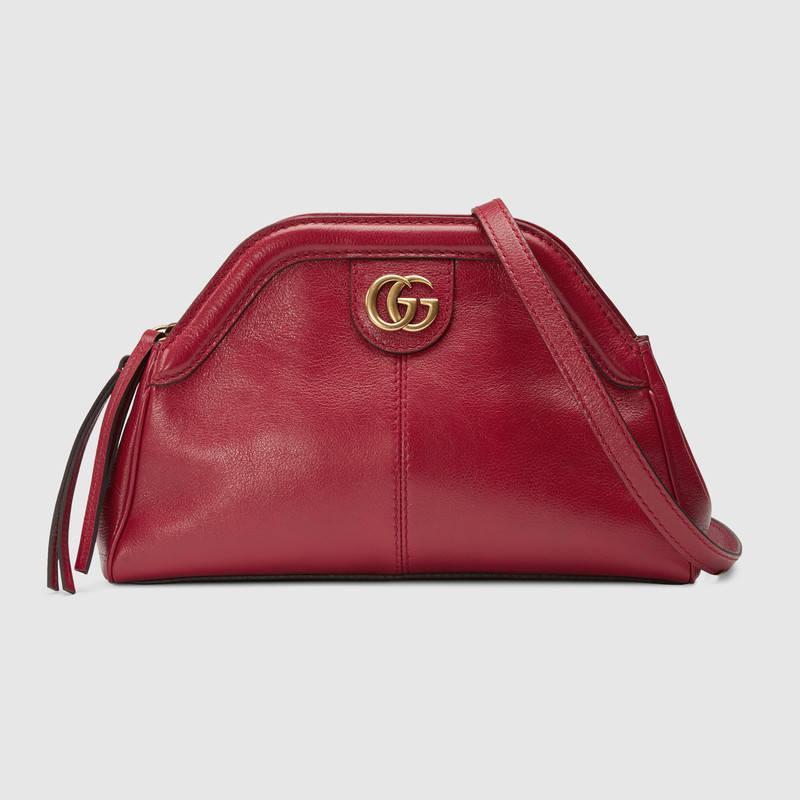 Gucci古驰 RE(BELLE)系列小号肩背包 红色皮革 524620 0PL0T 6438