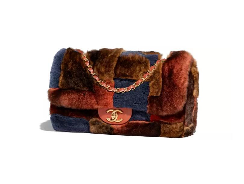 香奈儿chanel 红、橘与海军蓝 獭兔毛 羊皮口盖包