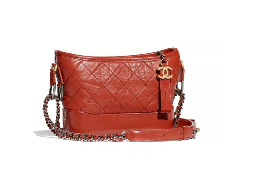 香奈儿Chanel Gabrielle小号流浪包 锈红复古小牛皮 光滑小牛皮