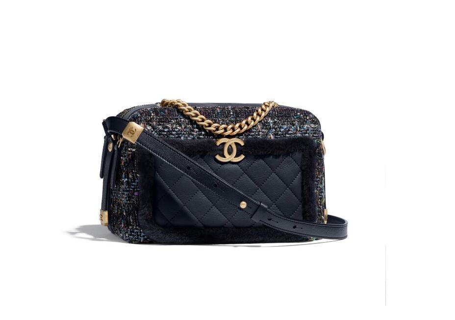 香奈儿Chanel 相机包 海军蓝与黑 斜纹软呢、颗粒压花小牛皮