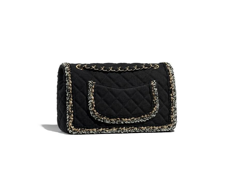 香奈儿Chanel 黑色口盖包 丹宁 编结与金色金属
