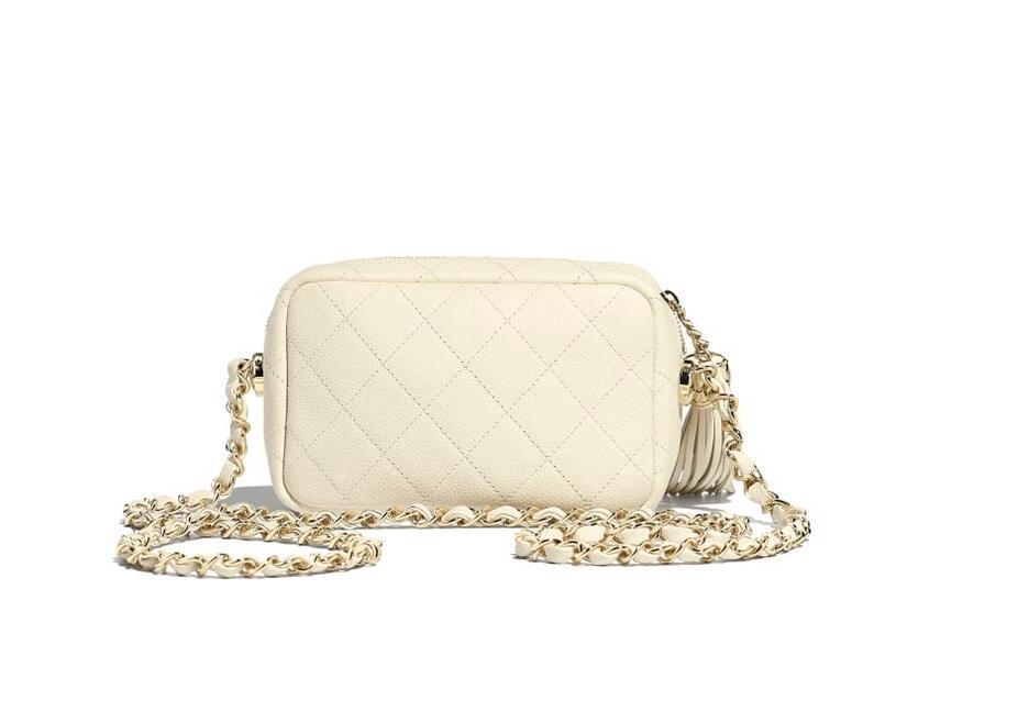 香奈儿Chanel 相机包 白色 颗粒压花小牛皮