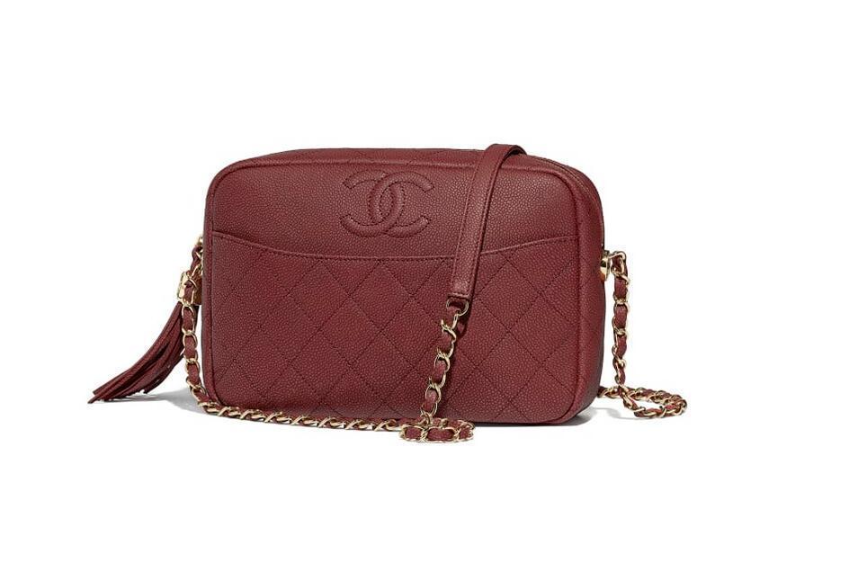 香奈儿Chanel 相机包 酒红 颗粒压花小牛皮