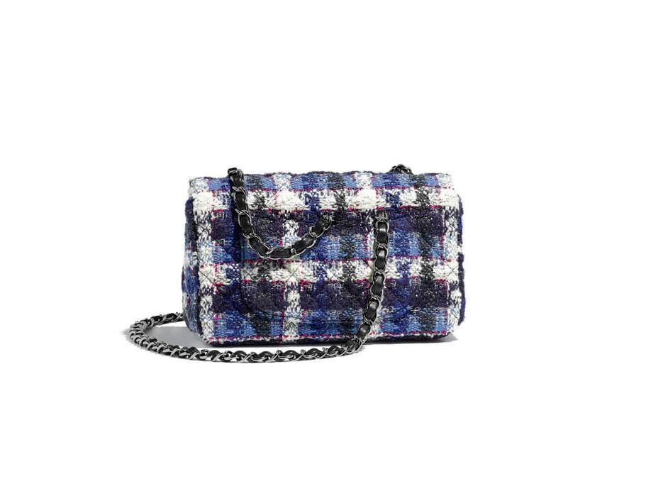 香奈儿Chanel 迷你口盖包 海军蓝 乳白与蓝 斜纹软呢 小羊皮