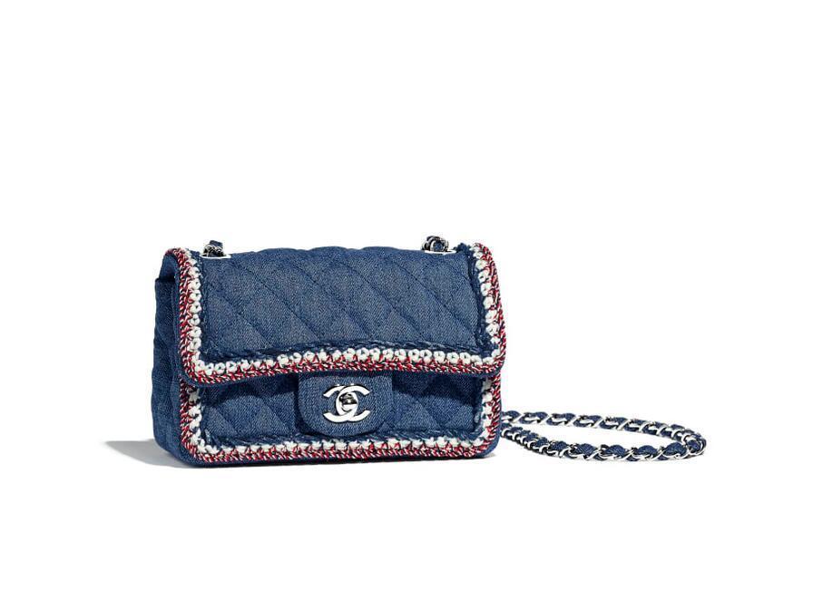 香奈儿Chanel 深蓝 迷你口盖包 单宁与银色金属