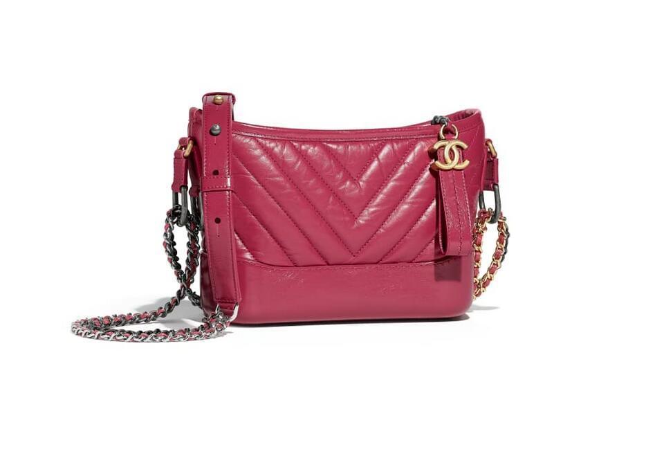 香奈儿Chanel GABRIELLE小号流浪包 粉红 复古小牛皮