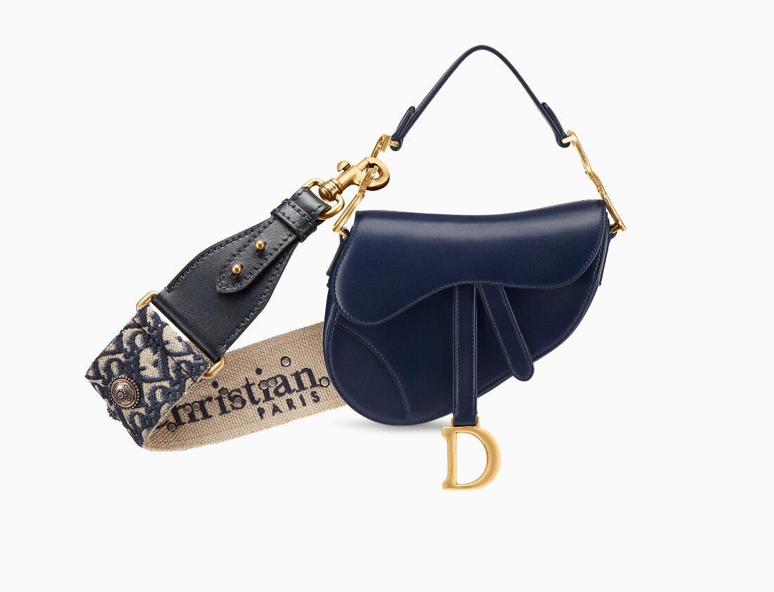 迪奥 Dior Saddle 靛蓝色小牛皮袖珍手提包 M0447CWGH_M85B