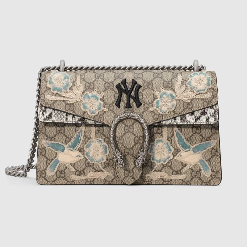 gucci Dionysus系列NY Yankees™贴饰小号肩背包 米色/乌木色