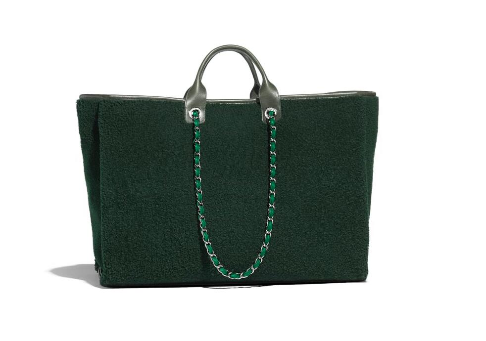 香奈儿 chanel Maxi购物包 绿色双面剪毛小羊皮、小牛皮